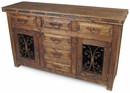 Rustic Old Wood Sideboard with Iron Accents - 2 Doors - 6 Drawers