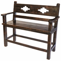 Rustic Old Wood Tall Bench with Southwest Design Cut-Out - Short