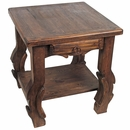 Rustic Ox Yoke End Table with Lower Shelf