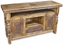 Rustic Ox Yoke Entertainment Console with Iron Accents