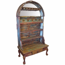 Rustic Painted Old Wood Open Wine Cabinet