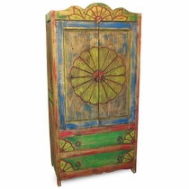 Rustic Painted Wood Armoire with Conch Carving