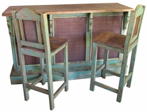 Rustic Painted Wood Bar Set With Metal Panels and Three Stools