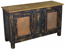 Rustic Painted Wood Buffet with Tin Door Inserts