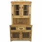 Rustic Pine Corner Hutch with Glass and Twig Doors