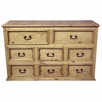 Rustic Pine Dresser - Small 8 Drawer