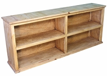 Rustic Pine Long Bookcase