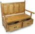 Rustic Pine Monastery Bench with Drawers