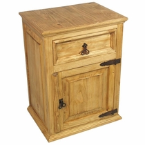 Rustic Pine Nightstand with 1 Drawer & 1 Door