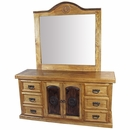 Rustic Pine Texas Lone Star Dressser with Mirror