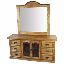 Rustic Pine Texas Lone Star Dresser with Mirror
