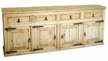 Rustic Pine TV Credenza - Entertainment Console - Buffet Bottom