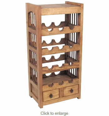 Rustic Pine Wine Rack With Small Drawers