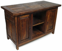 Rustic Reclaimed Wood Kitchen Island with 4 Doors and 2 Drawers
