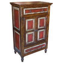 Rustic Red & White Painted Wood Cabinet with 2 Doors and 2 Drawers
