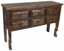 Rustic Six Drawer Ox Yoke Console