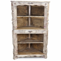 Rustic Whitewashed Corner Cabinet with Shelves