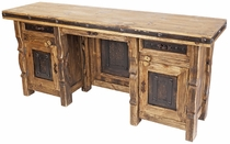 Rustic Wood and Iron Executive Office Credenza