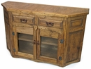 Rustic Wood Angled Sideboard with Glass Doors