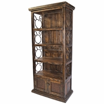 Rustic Wood Book Shelf with Iron Scrolls and Iron Panel Doors