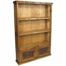 Rustic Wood Bookcase with Iron Door Inserts and Nailheads