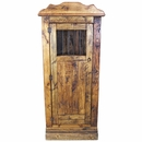 Rustic Wood Corner Cabinet with Iron Bars