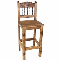 Rustic Wood Counter Height Bar Stool with Twisted Iron Bars