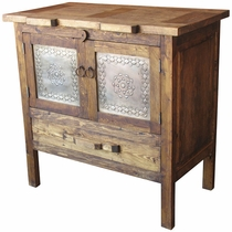Rustic Wood Sideboard with Tin Doors
