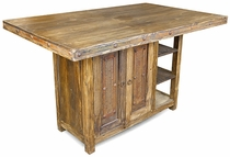 Rustic Wood Tall Kitchen Island Table with Iron Accents