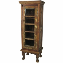 Rustic Wood Two-Piece Curio Cabinet with Glass