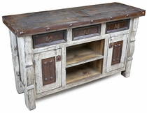 Rustic Wood White Washed Credenza Buffet with Iron Panels