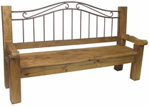 Rustic Wood & Wrought Iron Bench