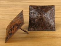 "Rusty Hammered Square Nailhead Clavo - 2"" x 2"" - Package of 8"