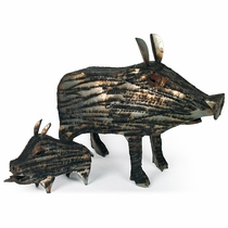Set of 2 Javelina Metal Yard Art Sculptures
