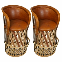 Set of 2 - Mexican Equipale Bar Stools with Cushioned Seat