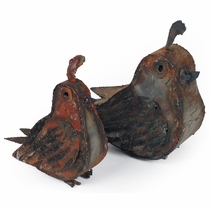 Set of 2 Rustic Metal Quail Garden Art Sculptures