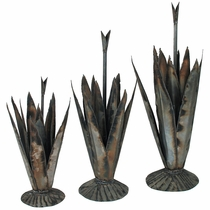 Set of 3 Metal Agave Yard Art Sculptures
