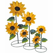 Set of 3 Metal Sunflower Yard Art Sculptures