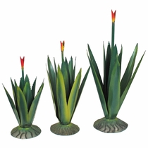 Set of 3 Painted Metal Agave Yard Art Sculptures