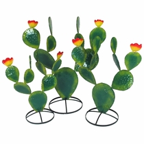 Set of 3 Painted Metal Prickly Pear Cactus Sculptures - Green