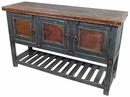 Slate Gray Old Wood Buffet with Iron Accents - 3 Door