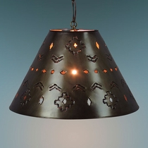 Small Aged Tin Southwest Shade Pendant Light
