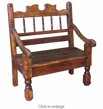 Small Wooden Bench : Small Carved Rustic Stained Wood Bench