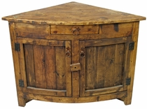Small Curved Front Rustic Corner Cabinet