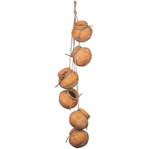 Set of 2 - Dangling 6 Small Clay Pots on Rope