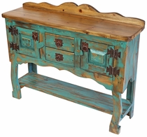 Small Green Patina Painted Wood Credenza or Buffet