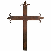 Small Iron Fleur de Lis Wall Cross