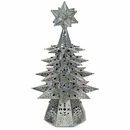 Small Lighted Natural Tin Star Christmas Tree with Colored Marbles