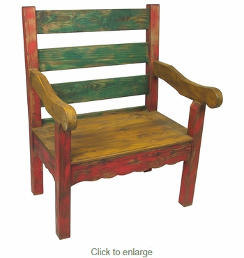 Small Wooden Bench : ... Rustic Benches > Small Mexican Country Style Painted Wood Bench