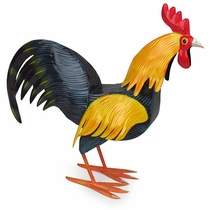 Small Mexican Painted Tin Rooster Sculpture